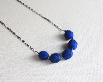 Felted Ball and Chain Necklace - Blue with Black