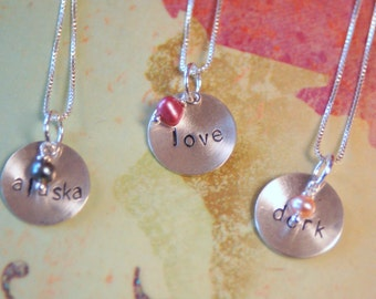Stamped Silver Word Necklace