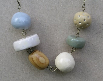 Large handmade Beaded Necklace Neutrals white, wood, tan, Gray Grey