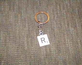 Letter R Scrabble Tile Keychain
