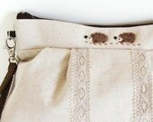MADE TO ORDER Pleated wristlet - Natural linen and brown dot lining with a needle felted hedgehog