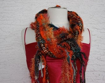 Creamsicle O05 , an Everyday Scarf in orange with LOTS of texture