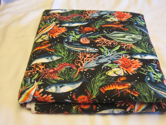 Items similar to 3 yards 60 inch wide ocean themed for Fishing themed fabric