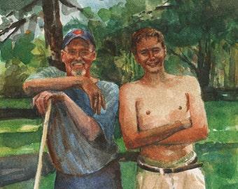Father and Son Trees Woodland Summertime Watercolor Original Art Tender Garden Belinda DelPesco