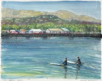 California Surfers Beach Ocean Pier Santa Barbara Landscape Original Art Monotype watercolor Belinda DelPesco