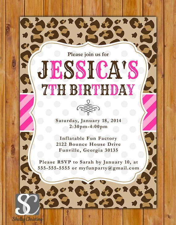 Leopard Print Birthday Party Invite Pink Stripes Polka Dots – Leopard Print Birthday Cards