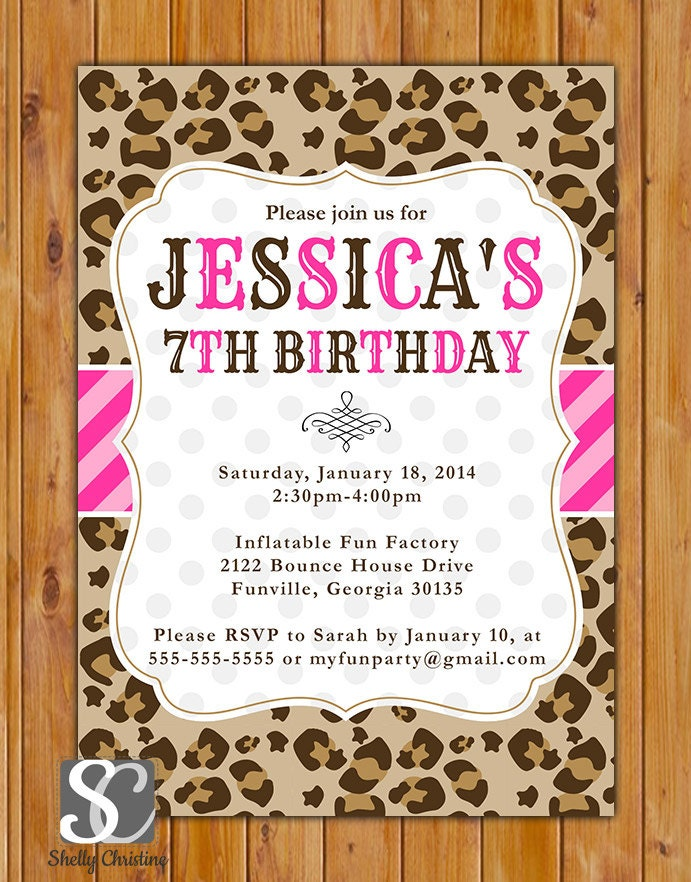 Leopard print birthday party invite pink stripes polka dots for Leopard print invitations templates