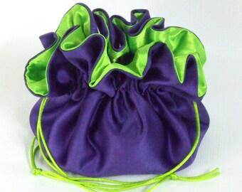 Wedding Bag  Satin Bridal Money Purse Royal Purple with Lime Green Lining  No Pockets