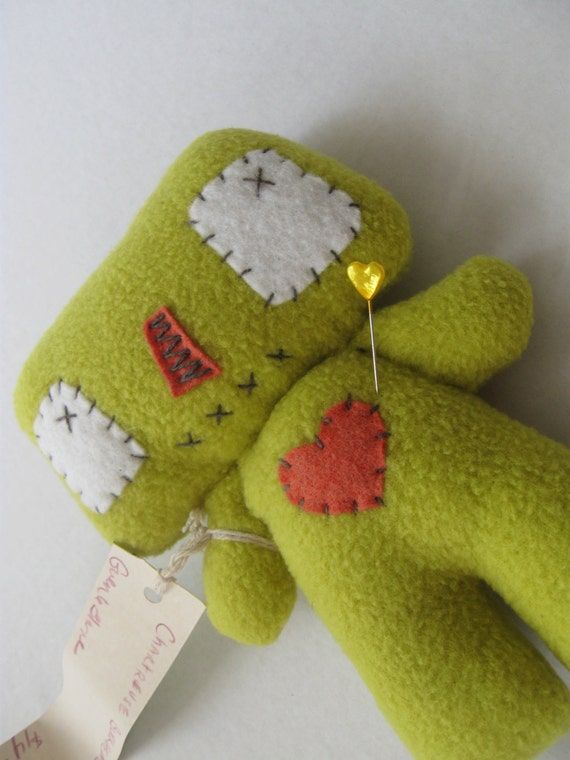 cuddly Chartreuse Blockhead plushie VOODOO doll