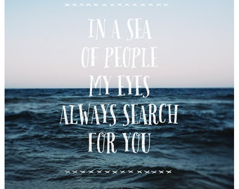 Sea of People - Typography - Summer - Travel Photograph - Text - Type - Quote - Fine Art Photograph  - Landscape Photography - Beach - Bock