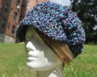 Multi-Colored Newsboy Hat in Blue, Green and Purple - Crocheted Hat for Winter