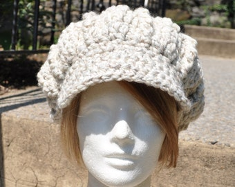 Natural Off-White Newsboy Hat - Crocheted Hat in Wool Acrylic Blend - Women's Hat with Brim - Chunky Knits - Winter Accessories - Winter Hat