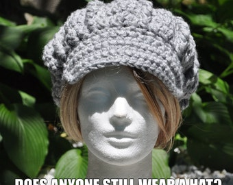Silver Heather Crochet Newsboy Hat - Woman's Hat with Brim - Light Gray Hat for Women