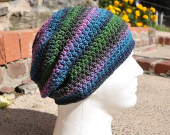 Slouchy Beanie Crocheted Hat - Blue, Green, Purple, and Pink Multicolored Skullcap - Unisex Hat - Men's Hat - Women's Hat - Slouchy Skullcap