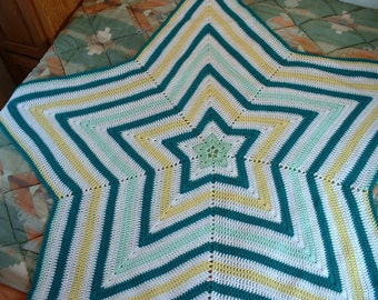 Handmade, 4-Color, 55-Inch Wide, Crocheted STAR AFGHAN