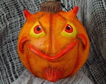 Devil pumpkin jack-o-lantern paperclay OOAK Halloween ornament
