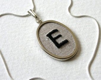 Personalized Jewelry Necklace Hand Embroidered Letter E