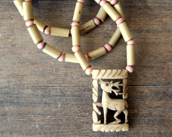 Deer Pendant Necklace - vintage dyed bone pendant- bamboo - pink African trade beads - leather - Woodland - Bohemian Jewelry - boho