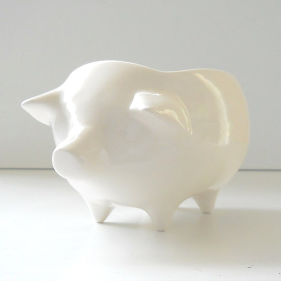 Ceramic Pig Planter Vintage Design in White Succulent Pot Makes Nice Office Gift