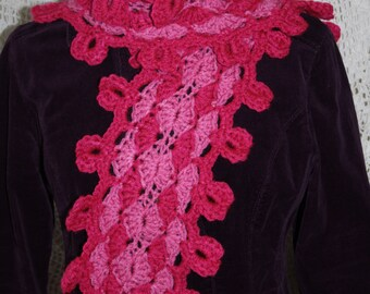 Sweetheart Scarf Clothing Accessory With Heart Edging Crochet Pattern