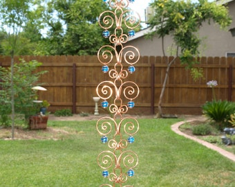 8 ft Copper  Suncatcher Swirl Rain Chain Handcrafted Kusari Doi Feng Shui Zen Garden Decor Water Feature  Handcrafted Sun Catcher Metalwork