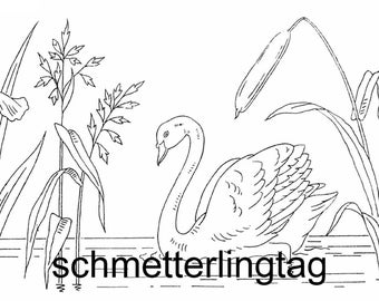 1885 Victorian Swan Splasher Embroidery Iron-on Transfer Pattern DIY Washstand Design Flag Iris Cattail
