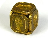 RARE Antique Victorian Wax Seal Cube Isaac Newton Queen Victoria Prince Albert Lord Byron 6 Side Famous People Stamp Dated 1840s