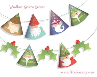Printable Woodland Santa Gnomes Banner PDF digital download Scrapbook Party Decorations