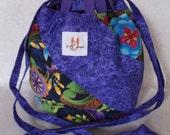 NEW Japanese Drawstring Pouch for Sock Knitting-Purple Medallion