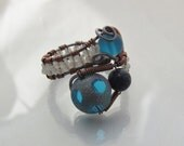 Glass Bead Wire Wrapped Cocktail Ring, Bling Ring, Fun Ring