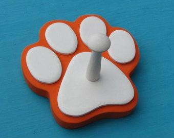 Dog Leash Holder ORANGE - Wood Paw Print Peg Hook UT Vols