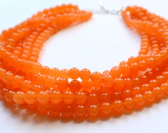 The Michelle- Orange Jade Chunky Necklace