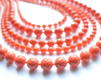 CLEARANCE- The Ginger- Coral Glass Bead Statement Necklace