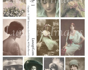 PRETTY LADY No1, digital collage sheet vintage photos images Victorian Edwardian women girls altered art ephemera postcards hats DOWNLOAD