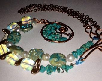 Copper wire lampwork gemstone  handmade necklace