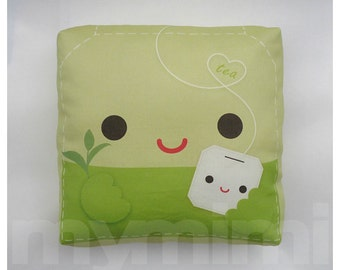 Tea Pillow, Green Leaf Tea, Tea Party, Decorative Pillow, Green Pillow, Cushion, Kawaii, Home Decor, Room Decor, Childrens Toys, 7 x 7""