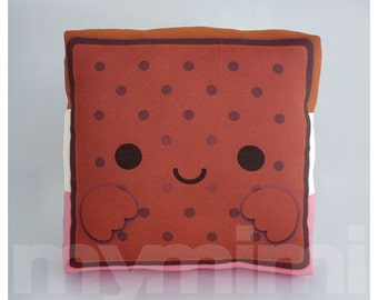 Ice Cream Pillow, Ice Cream Sandwich, Food Pillow, Neopolitan, Dessert Pillow, Decorative Pillow, Kawaii Pillow, Childrens Toys, 7 x 7""
