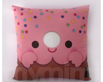 "12 x 12"" Pink Donut Pillow, Stuffed Toy, Kids Room Decor, Children's Pillow, Kids Throw Pillow, Food Pillow, Kawaii Pillow"