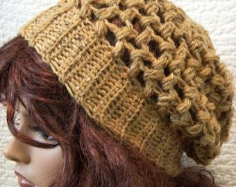 Butterscotch Tweed Slouchy Hat Beret Bobble Crochet Slouch Tam Beanie