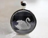 Swan Lake - Artist's Glass Tile Pendant Necklace - AshenSorrowDesign