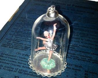 TINY BALLERINA PENDANT Wee Vintage Doll Under Glass