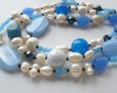 Light Blue Lace Agate, Blue Chalcedony, Blue Jade and Freshwater Pearl Chunky Statement Necklace