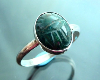 Scarab Beetle Bloodstone Gemstone carved ring in sterling silver bug size 7.5 stacker rings