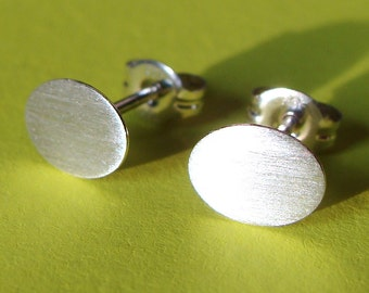 Flat Oval Studs Studs Small Oval Studs Disc Post Sterling Silver Stud Earrings Studs