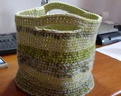 NEW Handmade Crochet Basket Shopping Bag Green Yellow Beige Brown Tones Metallic Thread
