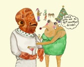 Admiral Ackbar Double-Sided Holiday Postcard by Caryn Cast