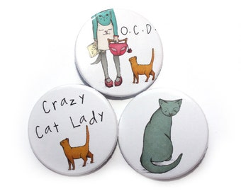 Cat Badges Pins - Crazy cat lady badge pin, Obsessive Cat Disorder - set of 3 stocking filler stuffer