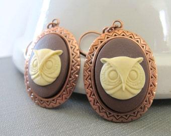 Owl Earrings, Copper Earrings, Cameo Earrings, Owl Cameo, Cameo Jewelry, Ivory and Brown, Dangle Earrings,