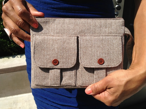 Wristlet Wallet - Herringbone Wool Brown Tweed Dorothy Wallet Wristlet