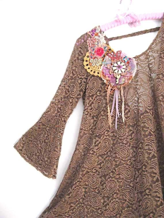Coffee Lace Collage Dress, Brown, Upcycled, Antique Embroidery, Butterfly & Vintage Key Brooch